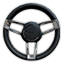 Black Leather Wrapped Steering Wheel with Robalo Logo